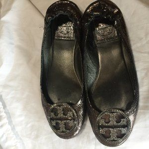 Tory Burch Silver Reva Flats Leather Glitter